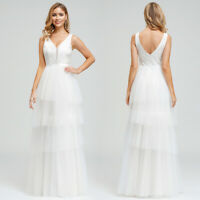 Ever-Pretty US Layered V-Neck Long Evening Prom Dresses Formal Wedding Ball Gown