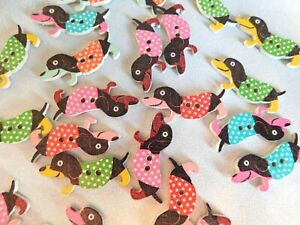 10 x Sausage Dog Buttons, 2 hole, Craft Sewing NEW, UK, Dachshund, Cute, Wooden