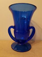 """COBALT BLUE FOOTED GLASS VASE FLARED at TOP 7"""" TALL HOME DECOR WEDDING FLORAL"""