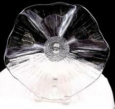 """DEPRESSION ERA CLEAR GLASS FLOWER BUBBLES AND RAYS 4 PART 11 1/4"""" SNACK SERVER"""