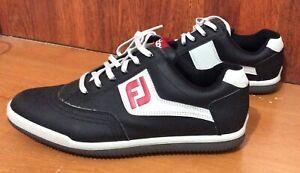 NWOB 8 M FootJoy Greenjoys Spikeless Golf Shoes Black/Red/Grey 45317 Men's