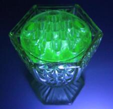 Beautiful URANIUM Art Deco Hand Made DEPRESSION GLASS VASE & FLOWER FROG