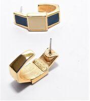 Vintage Earrings Gold Tone Ivory Blue Resin Hoop Style Signed Monet Jewelry VTG