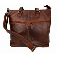 Borsa pelle donna notebook con manici e tracolla vera pelle borsa marrone