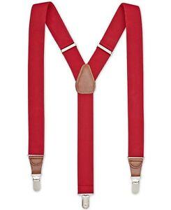 $75 Club Room New Men'S Solid Red Elastic Braces Clip-End Adjustable Suspenders