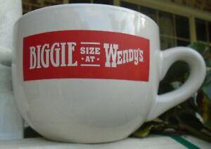 Vintage Collectible 24 oz. Biggie Size at Wendy's Jumbo Grande Coffee Mug Cup