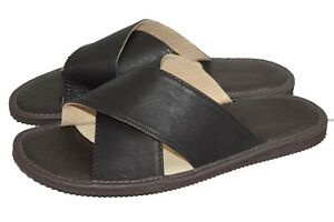 Mens Leather Premium Quality Slippers Flip-Flop Sandals Size UK 7-14 EU 40-48