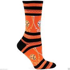 Skeleton Stripe Crew Socks Sugar Skull Size 9-11 Orange Skulls Halloween Hot Sox