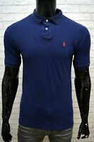 RALPH LAUREN Uomo Maglia Polo Taglia S Shirt Herrenhemd Custom Blu Cotone Casual