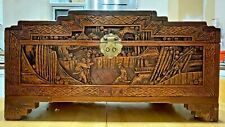 More details for chinese camphor wood carved chest - medium size stunning