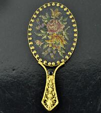 Vintage Hand Held Purse Vanity Mirror Ornate Solid Brass Enamel Floral Miniature