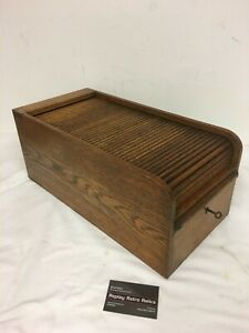 Antique Roll Top Index Card Wooden Cabinet - with key