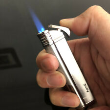 Jet Torch Blue Flame Butane Viewable Cigar Cigarette Lighter AOMAI-5301 Silver