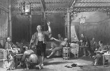 China, DRUG ADDICTS OPIUM WARS DEN PIPE SMOKING ROOM ~ 1843 Art Print Engraving