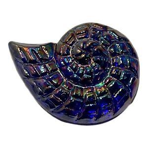 """Iridescent Ammonite Cobalt Blue Glass Paperweight Art Glass 4""""."""