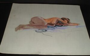 LQQK vintage unsigned 22X17 NUDE WATERCOLOR PAINTING #8