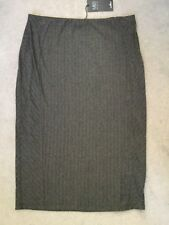 M&S CHARCOAL GREY STRETCH PENCIL SKIRT WITH FAINT LINES RUNNING DOWN - 14 BNWT
