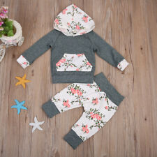 USA Newborn Baby Girl Floral Hoodie Outfit 6-12 month Spring outfit 2018