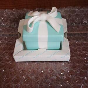 TIFFANY & CO Bone China Porcelain Mini Blue Bow Trinket Gift Box Ribbon Japan