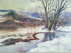 "Original watercolor by Stan Prokop ""Winter Wonderland"" 39.5×32"""