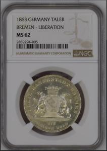 "1863 Germany States Bremen 1 thaler taler NGC MS62, ""Liberation"""
