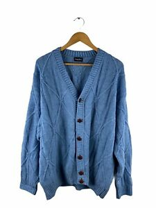 VINTAGE Gianni Bugli Button Knit Cardigan Men Size 56 Blue Long Sleeve 100% Wool
