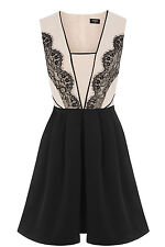 BNWT OASIS LACE TRIM STRUCTURED SKATER DRESS SIZE 12 RRP £89