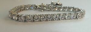 Sterling Silver 925 Tennis Bracelet 3mm Cubic Zirconia CZ 8 Inch