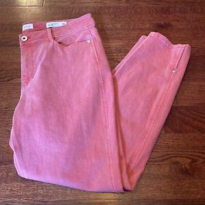 J. Jill Denim Women's Size 12 Pink Wash Stretch Slim Ankle Authentic Fit Jeans