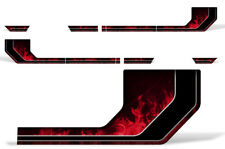Rally Race Stripes Side Graphic Kit Truck Decal Fits: Ford F150 15-17 RED FLME