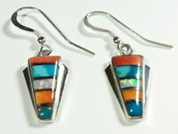 "925 STERLING SMALL SPINY OYSTER OPAL TURQUOISE  1 3/8"" x 1/2"" HOOK EARRINGS"