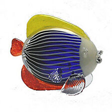 "SCULPTURE - MURANO GLASS MULTICOLOR TROPICAL FISH SCULPTURE - 7""H"