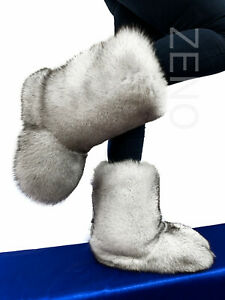 Double-Sided Fox Fur Boots For Outdoor Eskimo Fur Boots Arctic Boots Natural Fur
