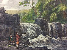 Pêche à la mouche FLY FISHING Première estampe 1834 XIXe poisson