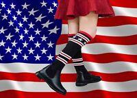 S13✪ Kniestrumpf Stiefel Highschool College Style 80's schwarz mit Sternen
