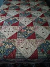 New ListingShabby Chic Patchwork Quilt W/ Ruffle Rose Pink Blue White Floral Full / Queen