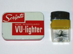 Vintage SCRIPTO Windguard VU-LIGHTER Advertising Tin! Fly Fishing Lure Lighter!