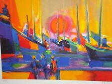 """1998 Marcel Mouly """"soleil couchant  sur port"""" A/P 7/30  18X23"""""""