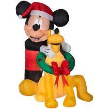 Disney Lighted Mickey Mouse & Pluto Christmas Inflatable ~True Original Mickey~