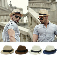 Men Women Straw Adjustable Size Fedora Trilby Hats Sunhat Summer Panama Cap Jazz