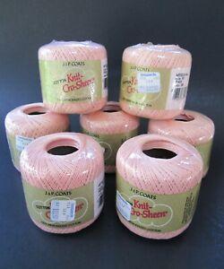 Lot (7) J&P COATS Cotton KNIT Crop-Sheen 100% Mercerized Cotton Color #161 PEACH