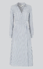 Whistles - Stripe Wrap Shirt Dress - Multi Grey - New With Tag - Size - 16