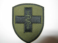 2 Medic Brigade TRF - Black Cross & Snake on Olive - Military Cloth Patch