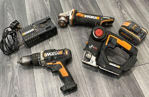 WORX 20v Cordless Tool Bundle, Drill, Grinder, Jigsaw, 1x 4.0 Ah Battery