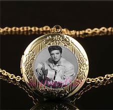 Elvis Presley  Photo Cabochon Glass Gold Plating Locket Pendant Necklace
