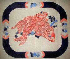 MZC Vintage Oriental Koi Fish 14ct HP Hand Painted Needlepoint Canvas