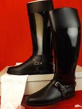 NIB JIMMY CHOO CHESHIRE BLACK RUBBER PVC STIRRUP STRAP RAIN RIDING TALL BOOTS 41