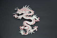 SILVER RED CHINESE DRAGON 18cm 7' EMBROIDERED SEW IRON ON PATCH APPLIQUE SRRG