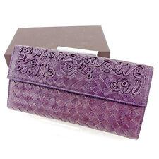 Bottega Veneta Wallet Purse Intrecciato Purple Woman unisex Authentic Used T2532