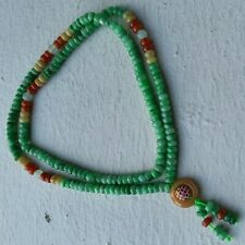 5.6mm Certified Type A Icy Jadeite Necklace Ice Bright Green Yellow Red Jade